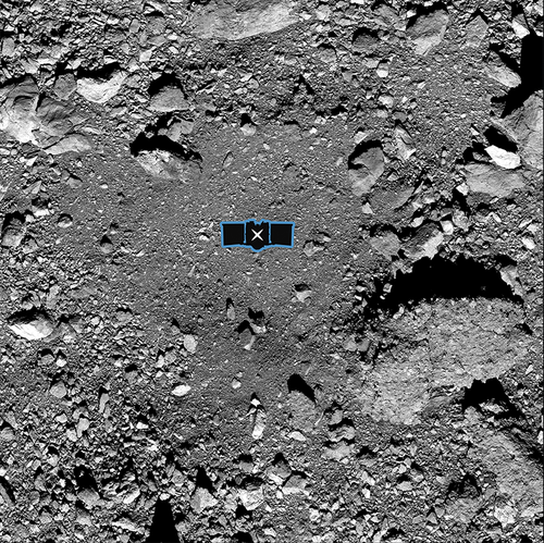 "This undated image made available by NASA shows the OSIRIS-REx spacecraft's primary sample collection site, named ""Nightingale,"" on the asteroid Bennu. (NASA/Goddard/University of Arizona via AP)"