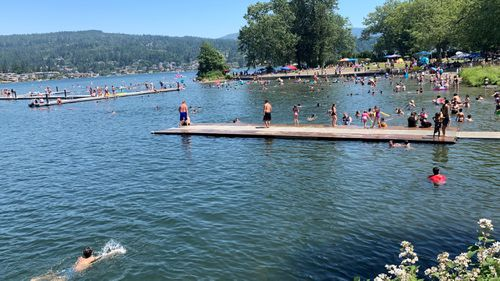 People flock to Bloedel Donovan park at Lake Whatcom in Bellingham, Washington state USA, during an uncharacteristic Pacific Northwest heat wave.
