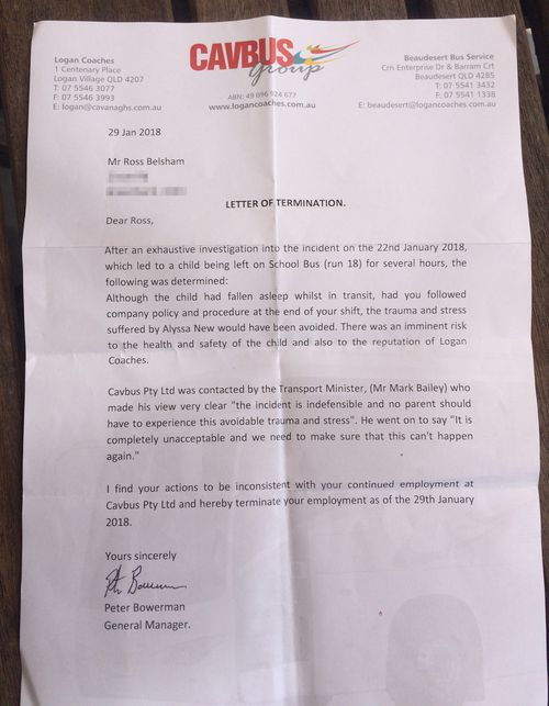 The letter of termination from Logan Coaches to Mr Beltram. (9NEWS)