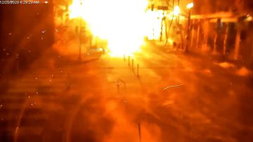 A massive fireball fills the street in Nashville on Christmas day.