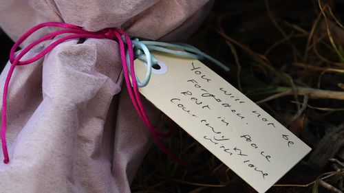 Tributes to Ms Herron in Royal Park. A silent vigil will be held tonight to remember the Melbourne woman.