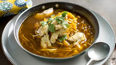 """Recipe: <a href=""""http://kitchen.nine.com.au/2016/08/25/15/50/native-chicken-noodle-and-chickpea"""" target=""""_top"""">Dan Churchill's chicken noodle and chickpea soup</a>"""