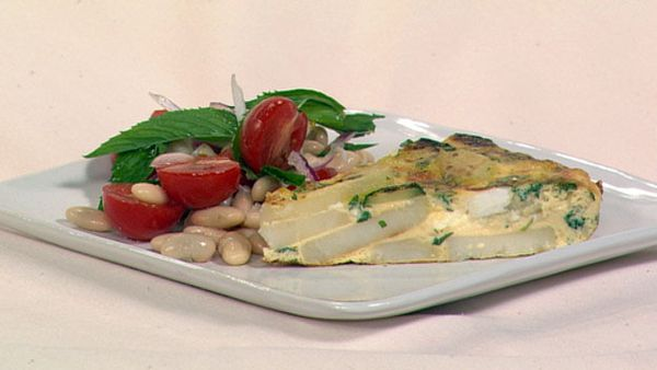Zucchini, potato & mint frittata with tomato & bean salad