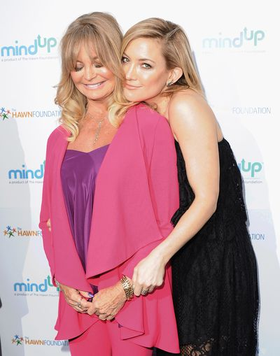 Silky blonde locks and peachy cheeks and lips for Goldie Hawn and daughter Kate Hudson.