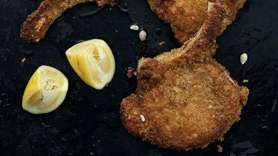 "Recipe: <a href=""http://kitchen.nine.com.au/2016/11/08/10/38/neil-perrys-crumbed-pork-with-lemon"" target=""_top"" draggable=""false"">Neil Perry's crumbed pork with lemon</a>"