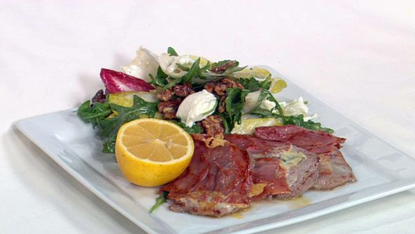 Veal saltimbocca with salad of witlof, walnuts and rocket