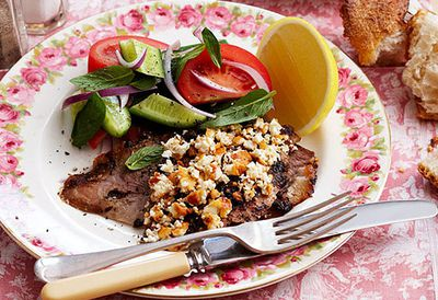 Greek-style baked lamb with feta