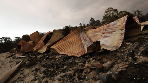 Remains of a burnt-out property in Bruthen South, Victoria.