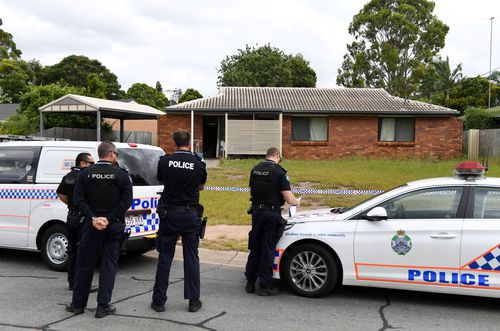 Three girls are believed to have been left orphaned after police uncovered their parent's bodies at 1.15pm (AAP).