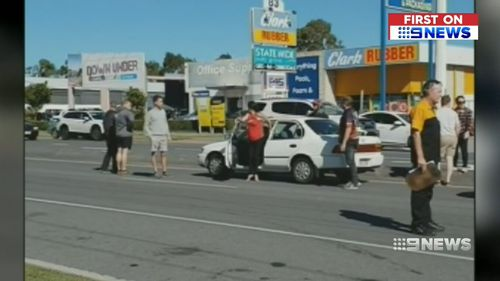 The woman allegedly attempted to enter several cars during the rampage. (9NEWS)