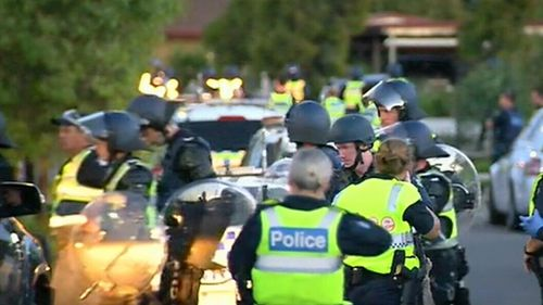 Officers were pelted with rocks when they arrived. (9NEWS)