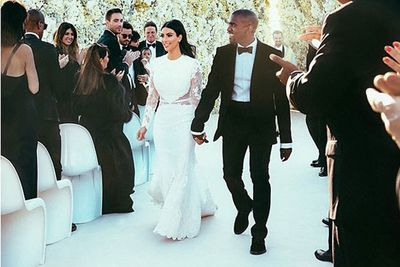 The 2 Million Dress Has A Long Sleeved Body Ing Mermaid Style Shape With Silk Train Instagram Kim Kardashian