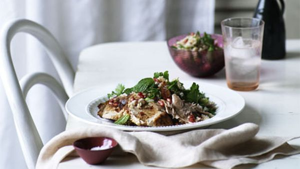 Pomegranate-roasted turkey with cracked wheat salad