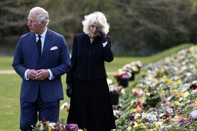 Charles and Camilla view tributes to Prince Philip, April 2021