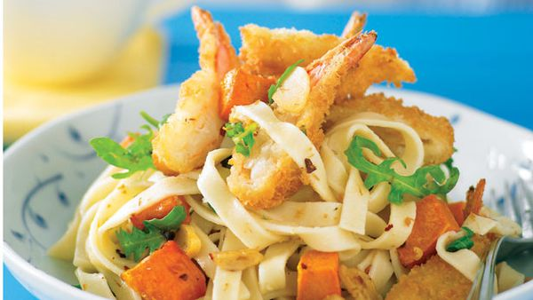 Spicy prawn pasta