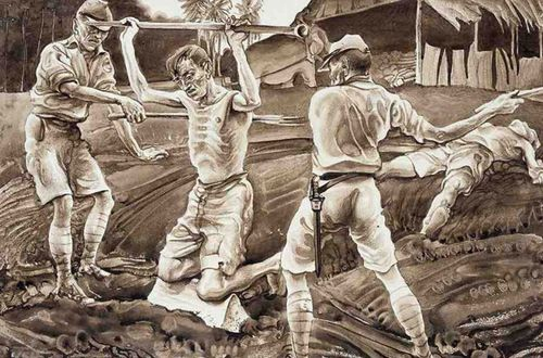 This painting by Australian POW Murray Griffin reconstructs the bashing of prisoners on the Thai–Burma railway. (Australian War Memorial).