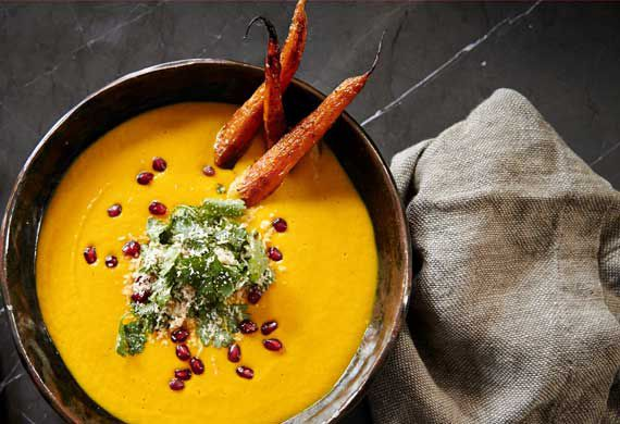 Carrot and coconut soup with roasted baby carrots and coconut sambal