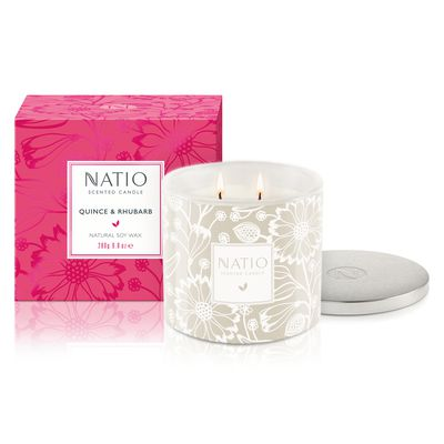 "<a href=""https://www.natio.com.au/"" target=""_blank"">Natio Quince & Rhubarb Scented Candle, $26.95.</a>"