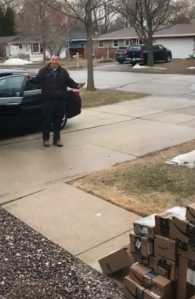 April Fools Day prank Amazon boxes