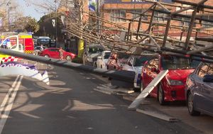 Scaffolding toppled at Gosford construction site as wild winds lash NSW coast