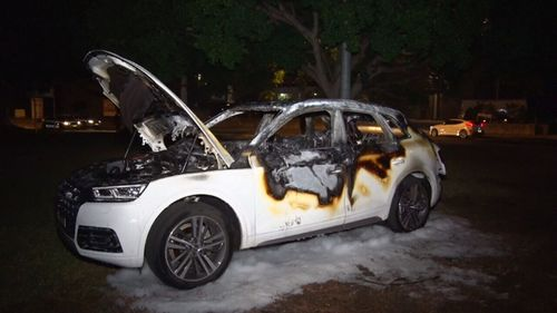 The car was left gutted by the fire. (9NEWS)