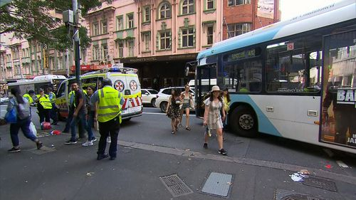 A pedestrian has been hit by a bus in Sydney's CBD.