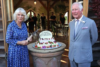 The royals prepare to cut a cake to mark the ten plus one anniversary of the Princes Countryside Fund.