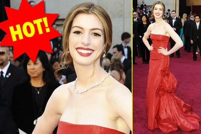 As usual, Anne Hathaway looks perfect - but any frock with a bulge around the butt area just makes us uneasy.