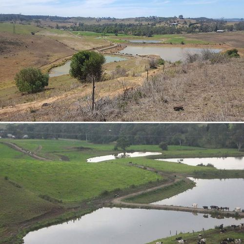 Before and after shots of Gavin Moore's Wollondilly dairy farm.