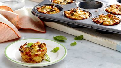 "Recipe: <a href=""https://kitchen.nine.com.au/2018/01/11/15/44/mini-quinoa-pizza-bites"" target=""_top"">mini quinoa pizza bites</a>"