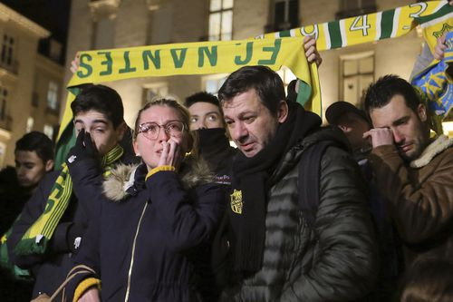 Fans of Sala's former club Nantes turned out in force for a vigil in the city centre.