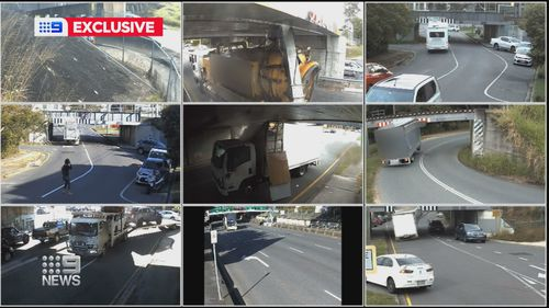 Exclusive video obtained by 9News from Queensland Rail show vehicles smashing into bridges across the state's south east.
