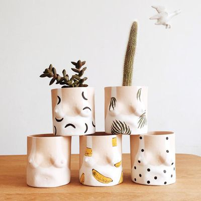 """<strong>Boob pots, $90 each,<a href=""""https://www.domusbotanica.com.au/products/boob-pot"""" target=""""_blank"""">Domus Botanica</a></strong>"""