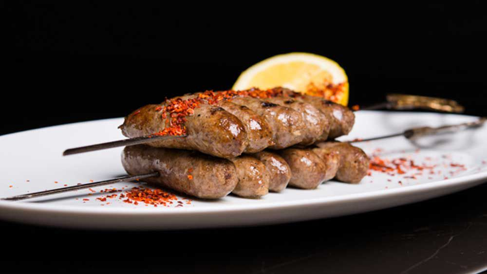 Skewered house-made Lebanese style lamb sausages with Turkish chilli flakes