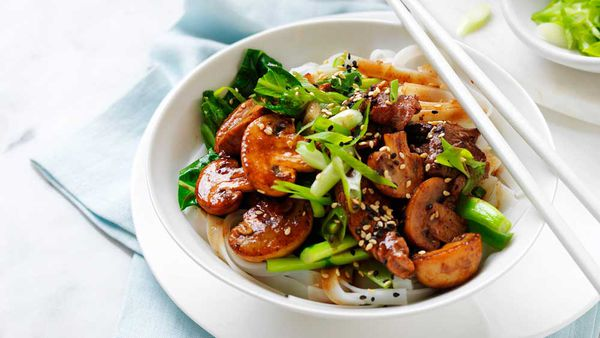 Char siu pork and mushroom stir fry