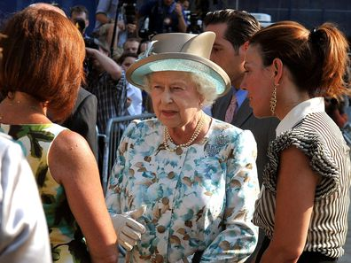 Queen Elizabeth II talks to families of some of the victims of the 9/11 terrorist attacks after she laid a wreath at the site of the World Trade Centre, in New York City in 2010 (Photo by John Stillwell/PA Images via Getty Images)