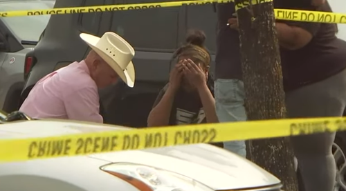 As detectives set up a crime scene at the car park the stolen Nissan was found, Maleah Davis' mother, Brittany Bowen was seen crying on the ground.