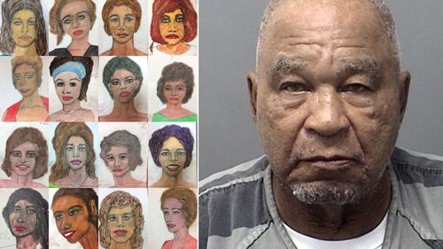 Samuel Little and sketches of his alleged victims.