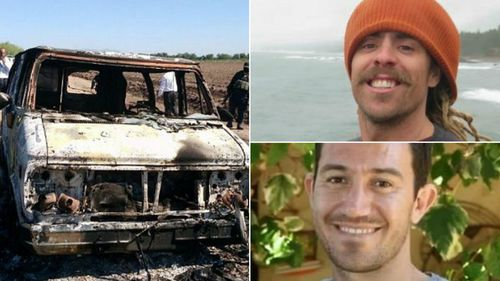 Adam Coleman (top right) and Dean Lucas (bottom right) are missing and (left) the burnt out van found by police.