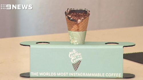 Adventurous caffeine lovers are encouraged to share their coffee cones on social media. (9NEWS)