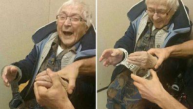 Grandma Annie is overjoyed at being arrested. (Facebook/Politie Nijmegen Zuid)