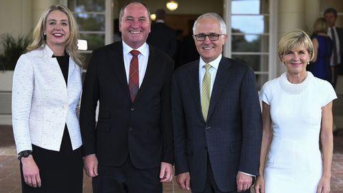The Coalition leadership team: Bridget McKenzie, Barnaby Joyce, Malcolm Turnbull and Julie Bishop. (AAP)