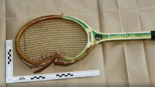The tennis racquet used to beat Mark Spencer to death.