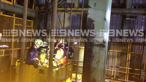 The pair were trapped 160m down a 500m mine shaft near Picton south of Sydney. (9NEWS)