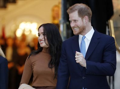 In this Tuesday Jan. 7, 2020  photo Britain's Prince Harry and Meghan, Duchess of Sussex leave after visiting Canada House in London after their recent stay in Canada.