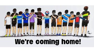 Cartoons being shared of the Thai boys trapped in a cave