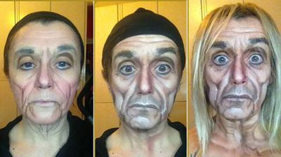 "<b>Iggy Pop</b> <p>Ms Pittalis titled this transformation as 'The Igster'. She said she worked hard to achieve the characteristic ""deep wrinkles"" of the punk rocker's face.</p>"