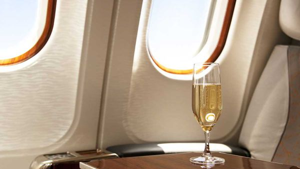 Champagne on a plane