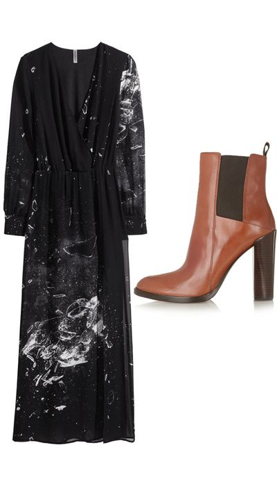 """<p>Dress: <a href=""""http://www.hm.com/au/product/23102?article=23102-B"""" target=""""_blank"""">Patterned Maxi Dress, $49.95, H&M</a></p><p>Boots: <a href=""""http://www.theoutnet.com/en-AU/product/Alexander-Wang/Thea-leather-ankle-boots/509775"""" target=""""_blank"""">Thea Leather Ankle Boots, approx. $415, Alexander Wang</a></p>"""