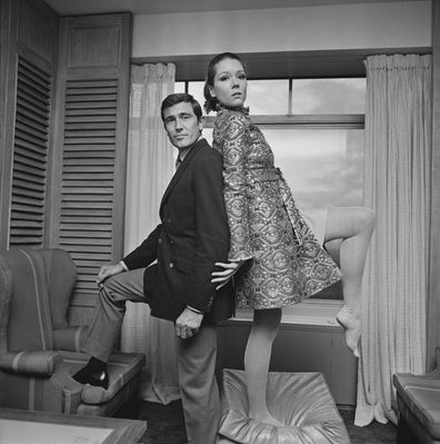British actress Diana Rigg and Australian actor George Lazenby, co-stars in the James Bond movie 'On Her Majesty's Secret Service', UK, 14th October 1968